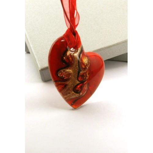 H0037 szív üvegmedál