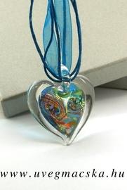 üvegékszer,üvegmedál-egyedi-szív