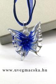 üvegékszer,üvegmedál-királykék-pillangó