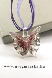 üvegékszer,üvegmedál-lila-pillangó